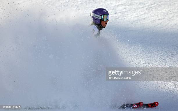 France's Tessa Worley arrives in the finish aera and placed third of the women's giant slalom event during the FIS Alpine Ski World Cup in...