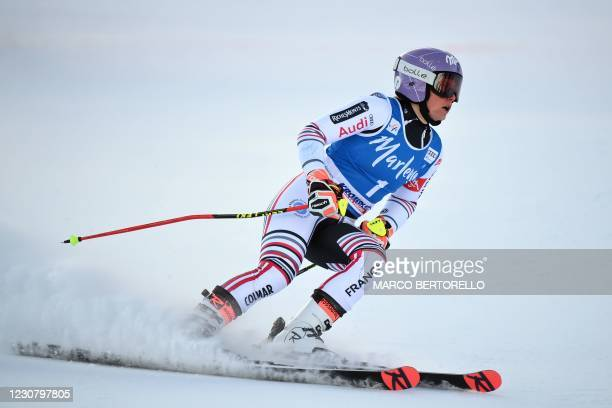 France's Tessa Worley reacts in the finish area of the Women's Giant Slalom race of Kronplatz part of the FIS Alpine ski World Cup on January 26,...