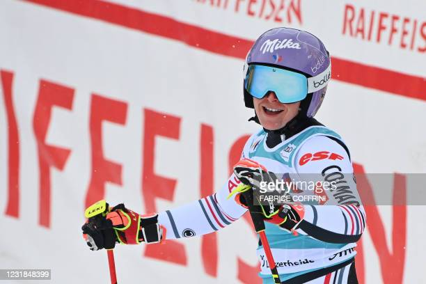 France's Tessa Worley reacts in the finishing area after competing in the second run of the Women's Giant Slalom event during the FIS Alpine ski...