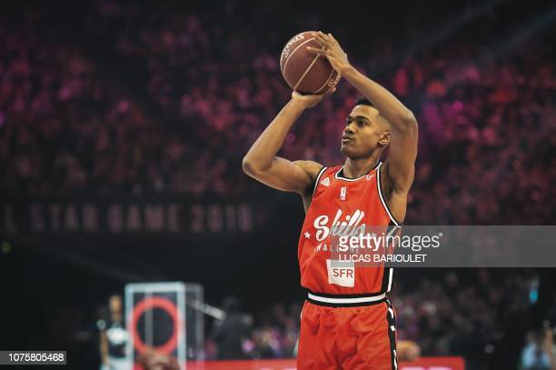 France's Theo Maledon tries a shot at the point guard contest during an All Star Game basketball match of the French Ligue Nationale de Basket...