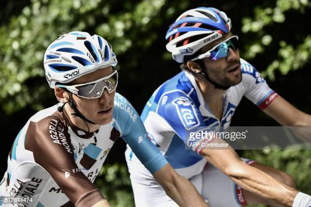 France's Thibaut Pinot and France's Romain Bardet ride during the 178 km tenth stage of the 104th edition of the Tour de France cycling race on July...