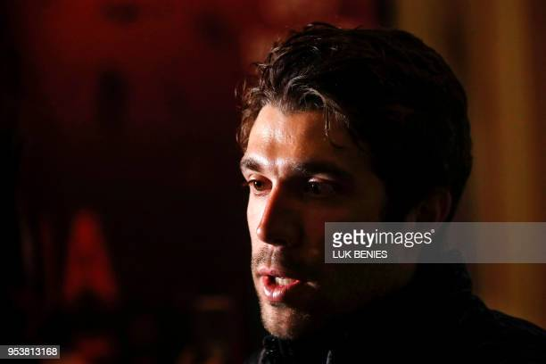 France's Thibaut Pinot of team FDJ gives a press conference in Jerusalem on May 2 two days prior to the start of The Giro d'Italia cycling race The...
