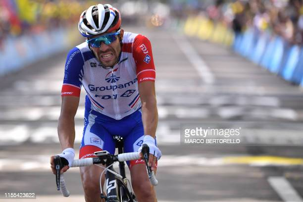 France's Thibaut Pinot reacts on the finish line of the eighth stage of the 106th edition of the Tour de France cycling race between Macon and...