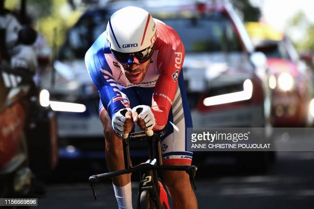 France's Thibaut Pinot rides during the thirteenth stage of the 106th edition of the Tour de France cycling race, a 27,2-kilometer individual...