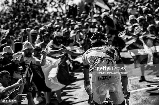 France's Thibaut Pinot rides in a breakaway during the 1105 km twentieth stage of the 102nd edition of the Tour de France cycling race on July 25...