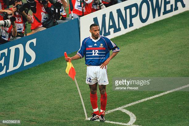 France's Thierry Henry celebrates scoring a goal during the 1998 soccer World Cup match against Saudi Arabia