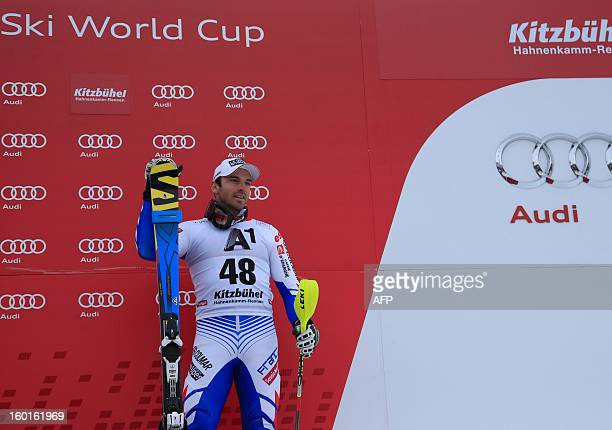 France's Thomas Blondin Mermillod stands on the podium after placing third at the FIS World Cup men's super combined on January 27 2013 in Kitzbuehel...