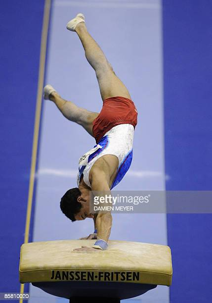 France's Thomas Bouhail performs on vault to win gold during the Apparatus finals of the Third European Men's Artistic Championships on April 5 2009...
