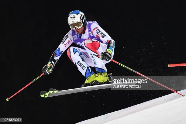 TOPSHOT France's Thomas Fanara competes in the 1/16th final of the FIS Alpine World Cup Men's Parallel Giant Slalom nightrace on December 17 2018 in...