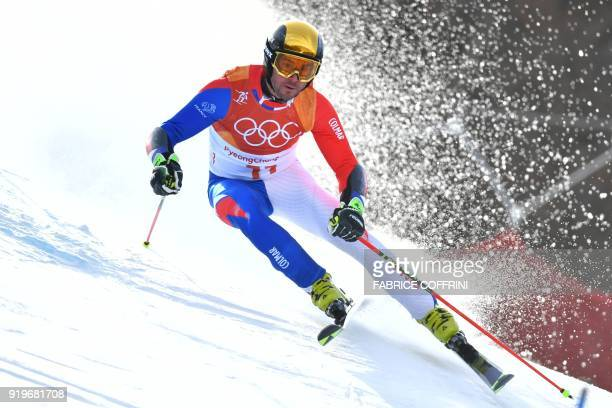 France's Thomas Fanara competes in the Men's Giant Slalom at the Jeongseon Alpine Center during the Pyeongchang 2018 Winter Olympic Games in...