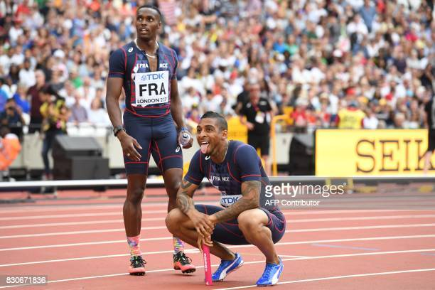 France's Thomas Jordier and Teddy AtineVenel react after competing in the men's 4x400m relay athletics event at the 2017 IAAF World Championships at...