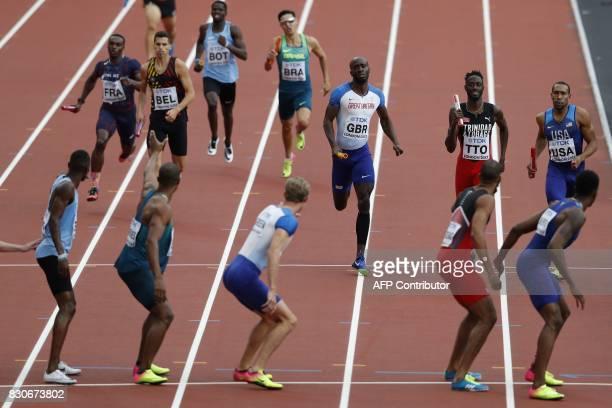France's Thomas Jordier Belgium's Joanthan Borlee Botswana's Baboloki Thebe Brazil's Alexander Russo Britain's Dwayne Cowan and USA's Bryshon Nellum...