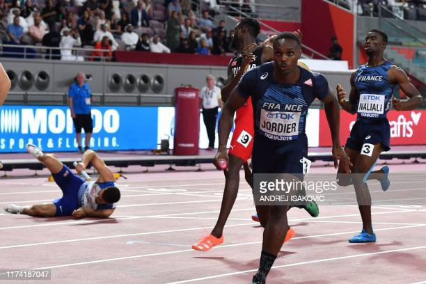France's Thomas Jordier competes in the Men's 4x400m Relay final at the 2019 IAAF Athletics World Championships at the Khalifa International stadium...