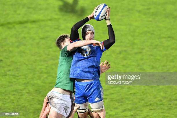 France's Thomas Lavault grabs the ball in a line up during the Six Nations U20 rugby union match between France and Ireland at the ChabanDelmas...