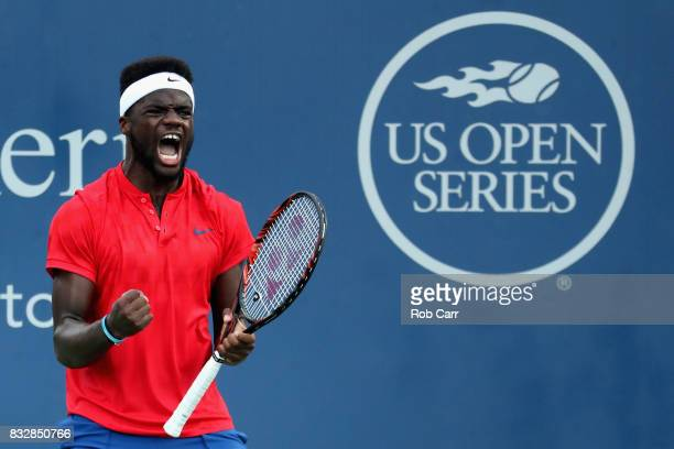 Frances Tiafoe celebrates match point after defeating Alexander Zverev of Germany during Day 5 of the Western Southern Open at the Linder Family...