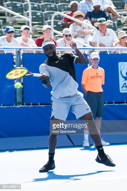 Frances Tiafoe defeats Hyeon Chung during the Quarterfinals of the ATP Delray Beach Open on February 24 at the Delray Beach Stadium Tennis Center in...