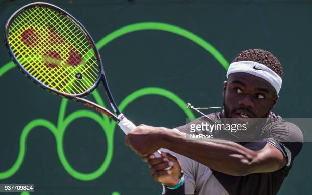 Frances Tiafoe from the USA in action against Kyle Edmung from Great Britain Tiafoe defeated Edmund 76 46 76 on March 24 2018 in Key Biscayne Florida