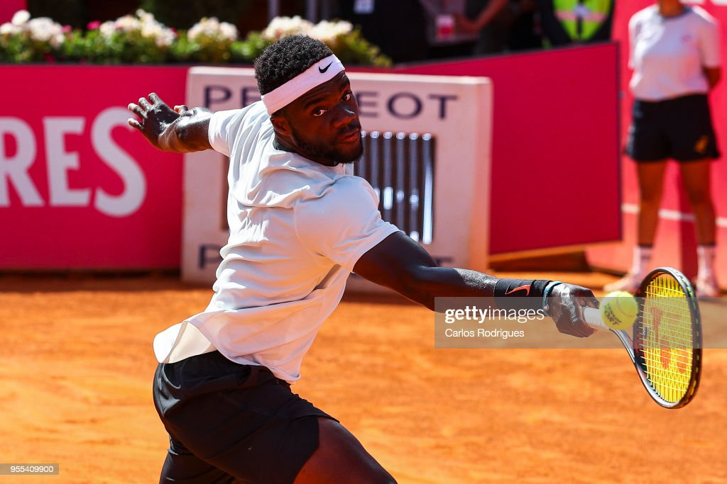 Frances Tiafoe from United States of America in action during the match against Joao Sousa from Portugal for Millennium Estoril Open 2018 - Singles Final at Clube de Tenis do Estoril on May 06, 2018 in Estoril, Portugal.