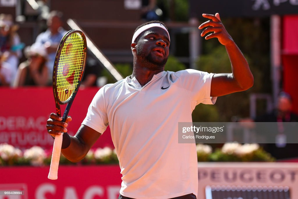 Frances Tiafoe from United States of America reacts during the match between Joao Sousa from Portugal and Frances Tiafoe from United States of America for Millennium Estoril Open 2018 - Singles Final at Clube de Tenis do Estoril on May 06, 2018 in Estoril, Portugal.