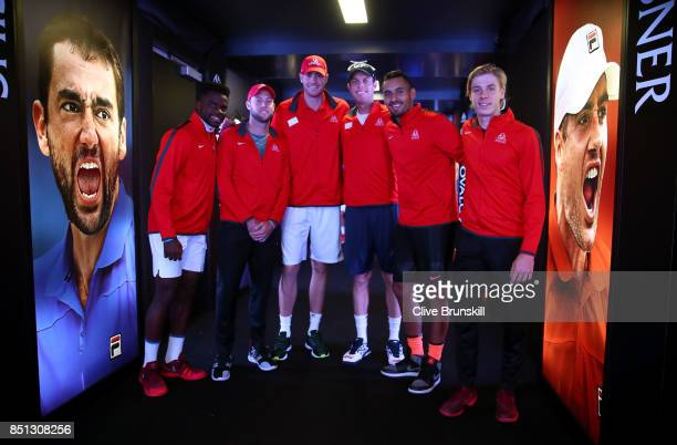 Frances Tiafoe Jack Sock John Isner Sam Querrey Nick Kyrgios and Denis Shapovalov of Team World wait to enter the arena on the first day of the Laver...