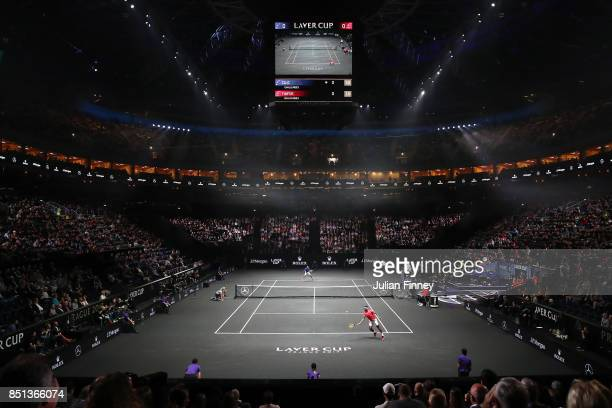 Frances Tiafoe of Team World plays a backhand during his singles match against Marin Cilic of Team Europe on the first day of the Laver Cup on...