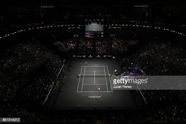 Frances Tiafoe of Team World serves during his singles match against Marin Cilic of Team Europe on the first day of the Laver Cup on September 22...