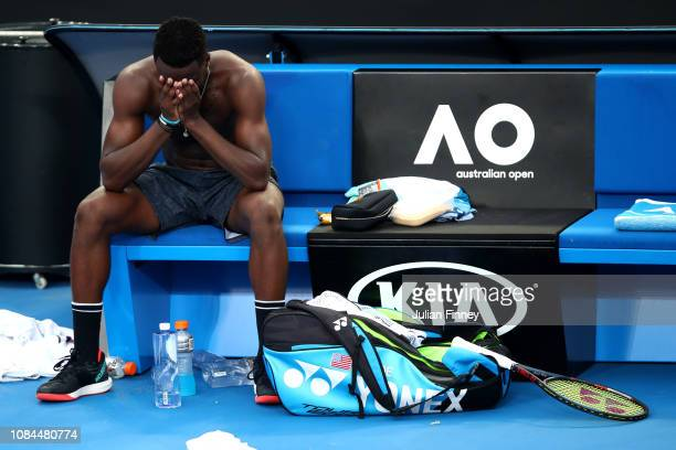 Frances Tiafoe of the United States celebrates winning his third round match against Andreas Seppi of Italy during day five of the 2019 Australian...