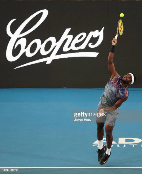 Frances Tiafoe of the United States competes in his match against Thanasi Kokkinakis of Australia on day three of the 2018 World Tennis Challenge at...