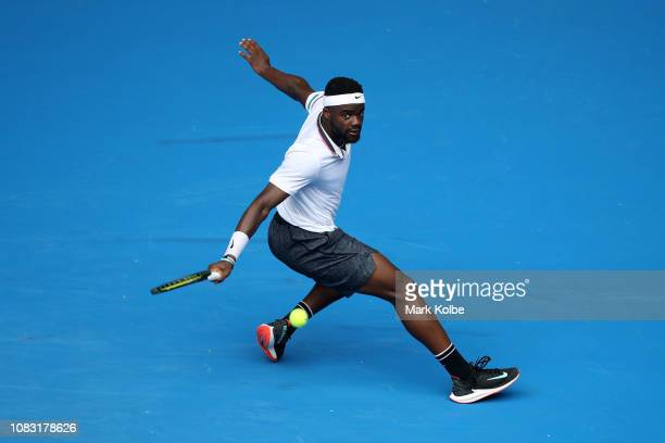 Frances Tiafoe of the United States plays a backhand in his second round match against Kevin Anderson of South Africa during day three of the 2019...
