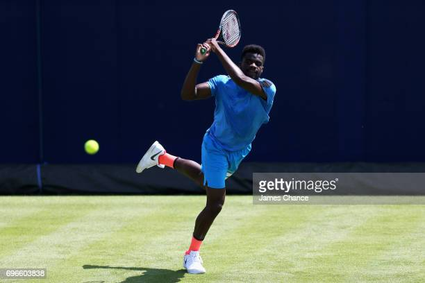 Frances Tiafoe of the United States plays a backhand shot during a practice session ahead of the Aegon Championships at Queens Club on June 16 2017...