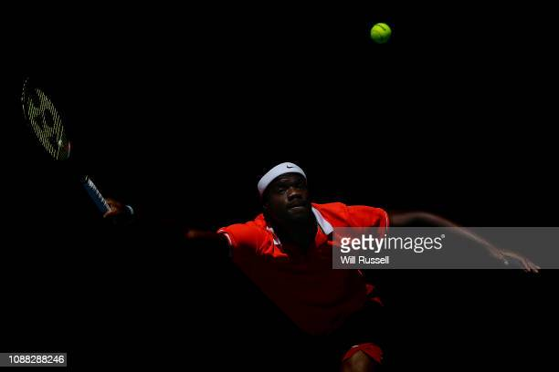 Frances Tiafoe of the United States plays a forehand to Stefanos Tsitsipas of Greece in the mens singles match during day three of the 2019 Hopman...