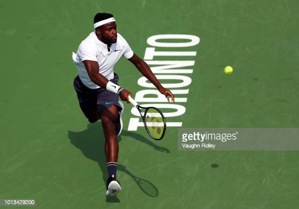 Frances Tiafoe of the United States plays a shot against Milos Raonic of Canada during a 2nd round match on Day 3 of the Rogers Cup at Aviva Centre...