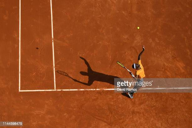 Frances Tiafoe of the United States serves against Juame Munar of Spain in their Mens round of 32 match during day two of the Barcelona Open Banc...