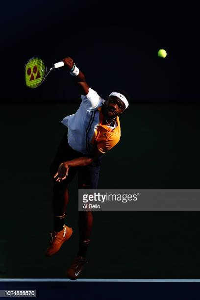 Frances Tiafoe of the United States serves during his men's singles first round match against Adrian Mannarino of France on Day Two of the 2018 US...