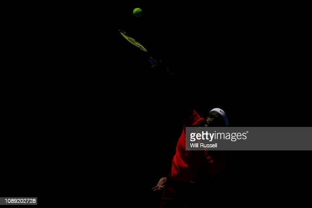Frances Tiafoe of the United States serves to Cameron Norrie of Great Britain in the mens singles match during day six of the 2019 Hopman Cup at...