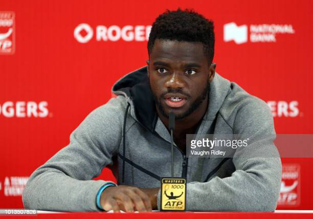 Frances Tiafoe of the United States speaks to the media following his 2nd round victory over Milos Raonic of Canada on Day 3 of the Rogers Cup at...