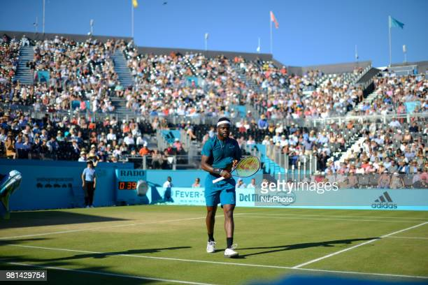 Frances Tiafoe of the US plays the quarter final singles match on day five of Fever Tree Championships at Queen's Club London on June 22 2018