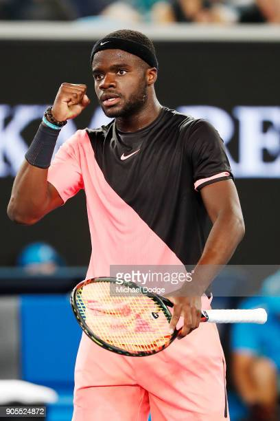 Frances Tiafoe of the US serves celebrates a point in his first round match against Juan Martin del Potro of Argentina on day two of the 2018...
