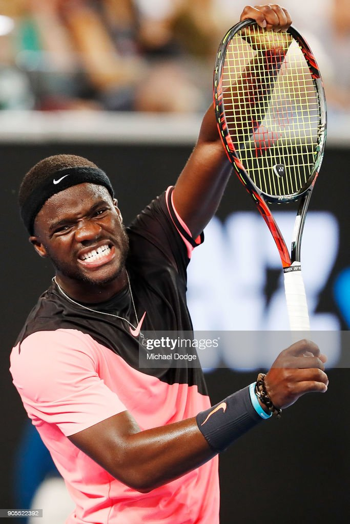 Frances Tiafoe of the US shows his frustration in his first round match against Juan Martin del Potro of Argentina on day two of the 2018 Australian Open at Melbourne Park on January 16, 2018 in Melbourne, Australia.
