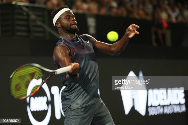 Frances Tiafoe of the USA competes in his match against Thanasi Kokkinakis of Australia on day three of the 2018 World Tennis Challenge at Memorial...