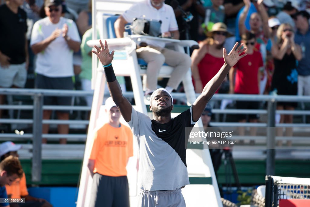 Frances Tiafoe of United States celebrates his winning singles championship match against Peter Gojowczyk of Germany at the Delray Beach Open held at the Delray Beach Stadium & Tennis Center on February 25, 2018 in Delray Beach, Florida