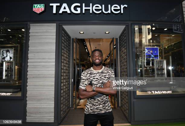 Frances Tiafoe of United States poses at the Unveiling of Tag Heuer's Global Tennis Ambassadors at the Tag Heuer Boutique on January 11 2019 in...