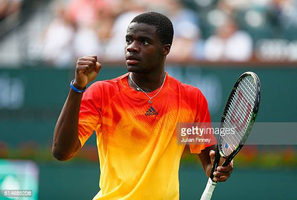Frances Tiafoe of USA celebrates defeating Taylor Fritz of USA during day four of the BNP Paribas Open at Indian Wells Tennis Garden on March 10 2016...