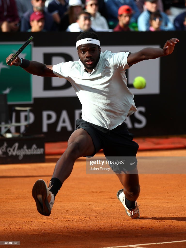 Frances Tiafoe of USA in action in his match against Matteo Berrettini of Italy during day two of the Internazionali BNL d'Italia 2018 tennis at Foro Italico on May 14, 2018 in Rome, Italy.