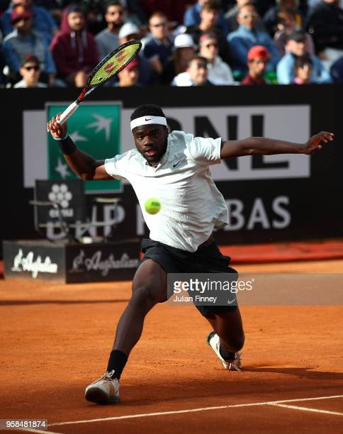 Frances Tiafoe of USA plays a forehand in his match against Matteo Berrettini of Italy during day two of the Internazionali BNL d'Italia 2018 tennis...