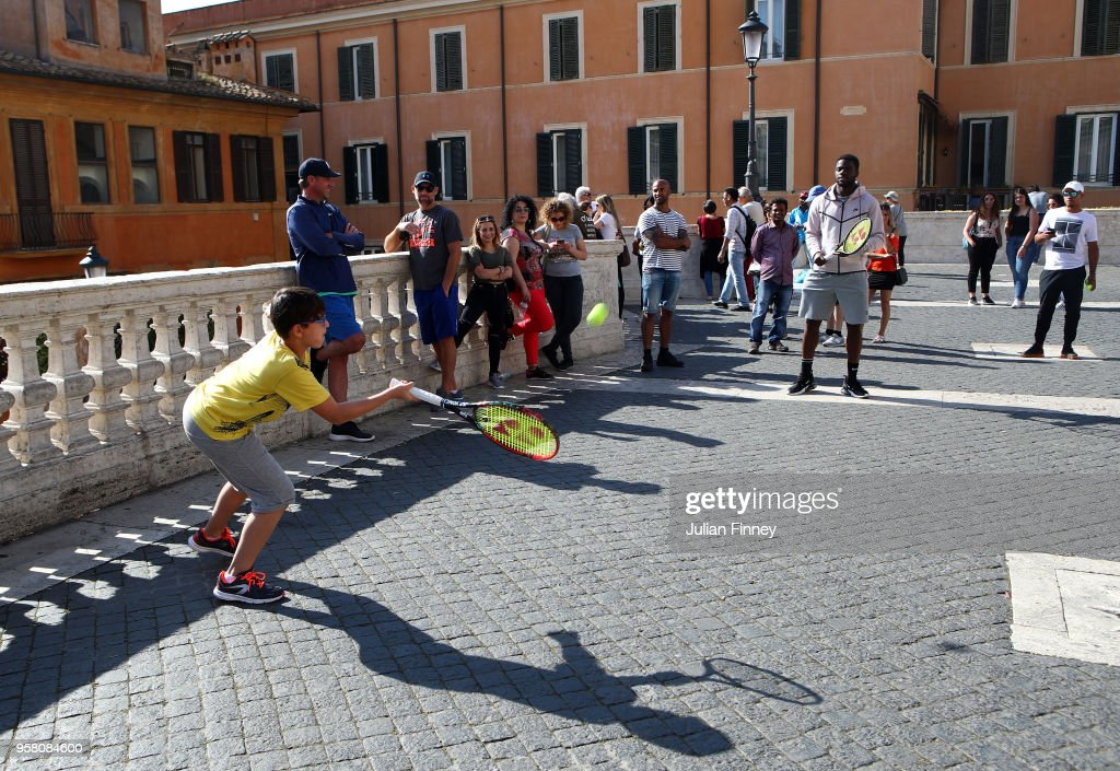 Frances Tiafoe of USA plays tennis by the Spanish Steps during day one of the Internazionali BNL d'Italia 2018 tennis at Foro Italico on May 13, 2018 in Rome, Italy.