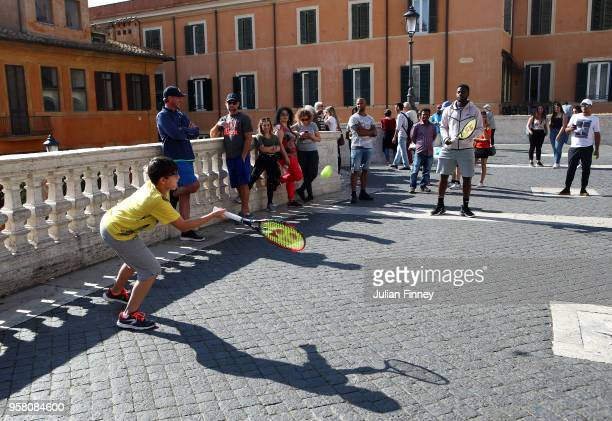 Frances Tiafoe of USA plays tennis by the Spanish Steps during day one of the Internazionali BNL d'Italia 2018 tennis at Foro Italico on May 13 2018...