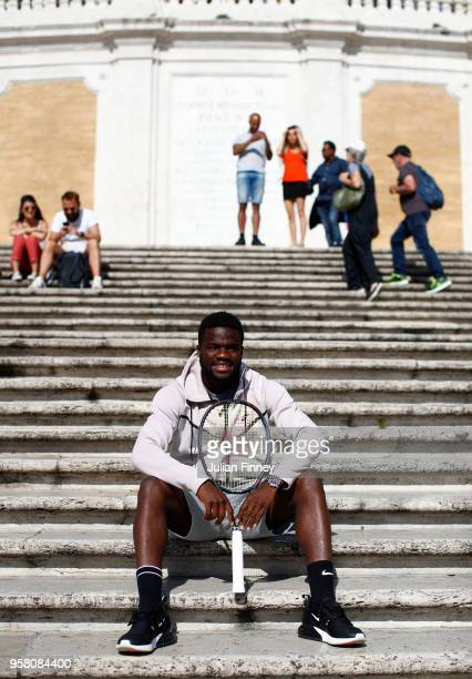 Frances Tiafoe of USA poses for a photo as he visits the Spanish Steps during day one of the Internazionali BNL d'Italia 2018 tennis at Foro Italico...