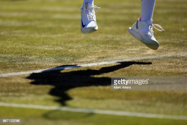 Frances Tiafoe of USA serves against Richard Gasquet of France during the GANT Tennis Championships on June 29 2018 in London England