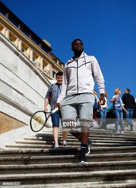 Frances Tiafoe of USA visits the Spanish Steps during day one of the Internazionali BNL d'Italia 2018 tennis at Foro Italico on May 13 2018 in Rome...